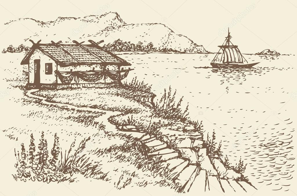 Vector landscape. Fisherman's hut on a cliff near sea