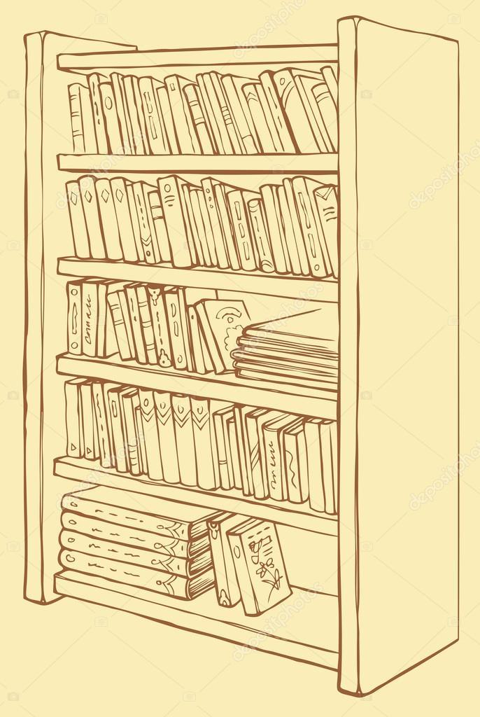 vector tekening. boekenkast met diverse boeken — Stockvector ...