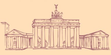 Vector landmark. Sketch of main sights of Berlin - Brandenburg gate