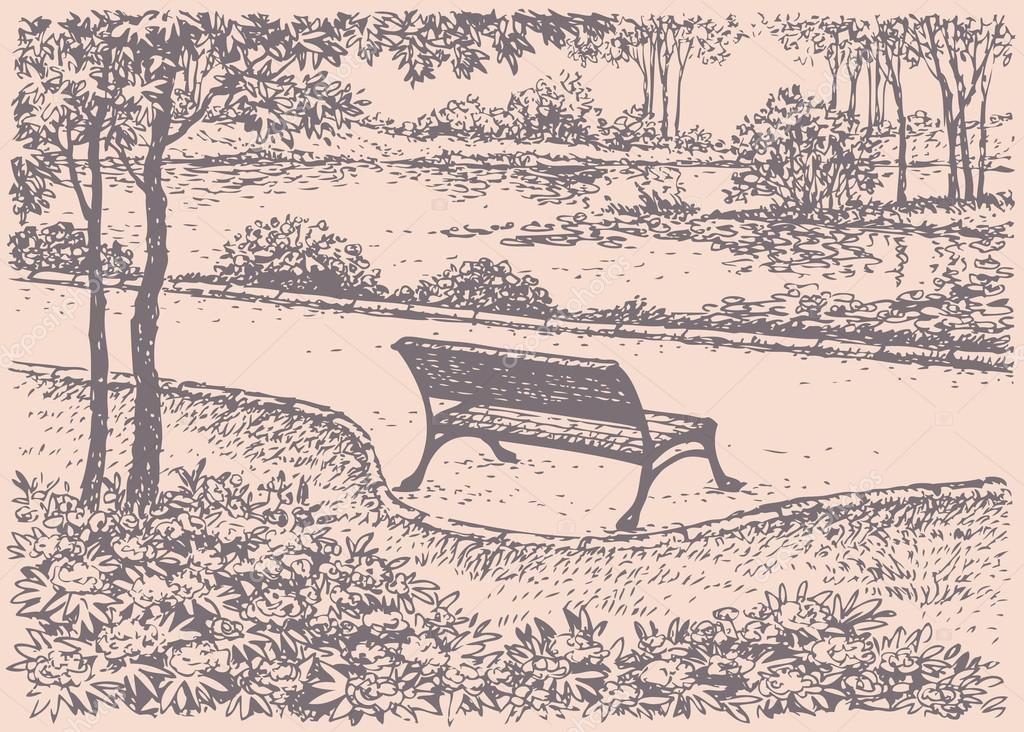 Vector landscape. Park bench in front of the river