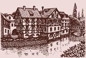 Vektorskizze einer alten europäischen Stadt