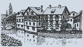 Vektor Stadtbild. Straße mit alten Fachwerkhäusern aus Europa