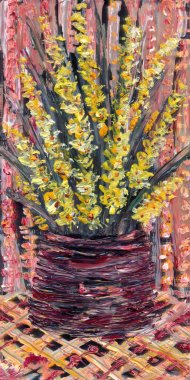 Still life oil. Bouquet of yellow flowers in a vase on pink background