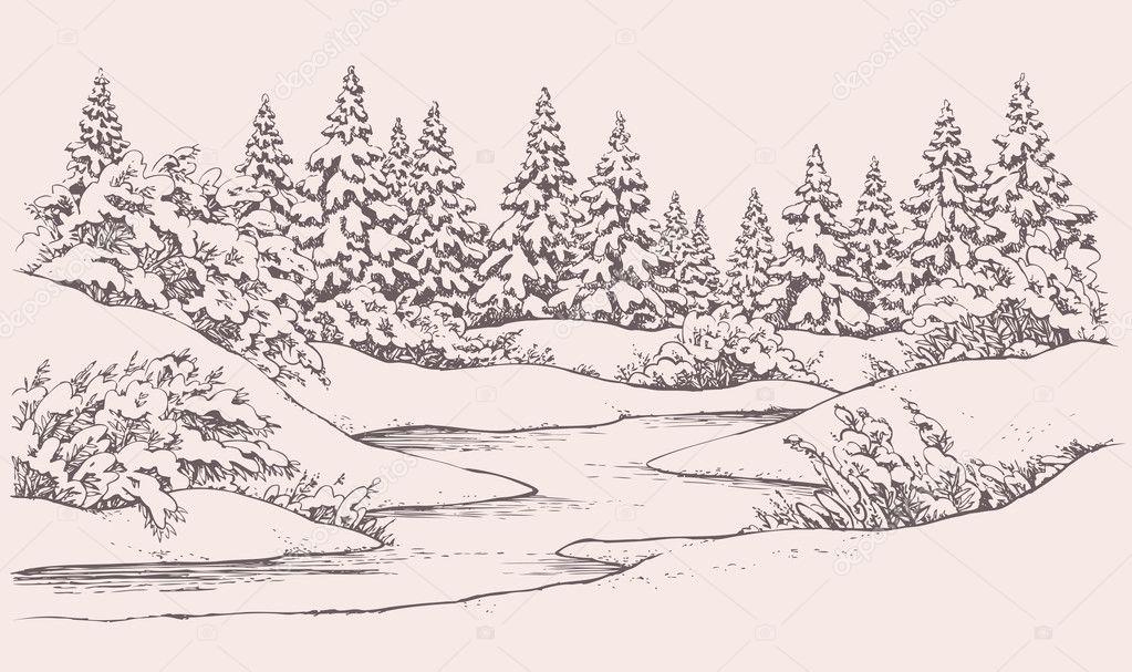 http://st.depositphotos.com/1006076/3710/v/950/depositphotos_37100589-Vector-winter-landscape.-Forest-firs-near-frozen-river.jpg