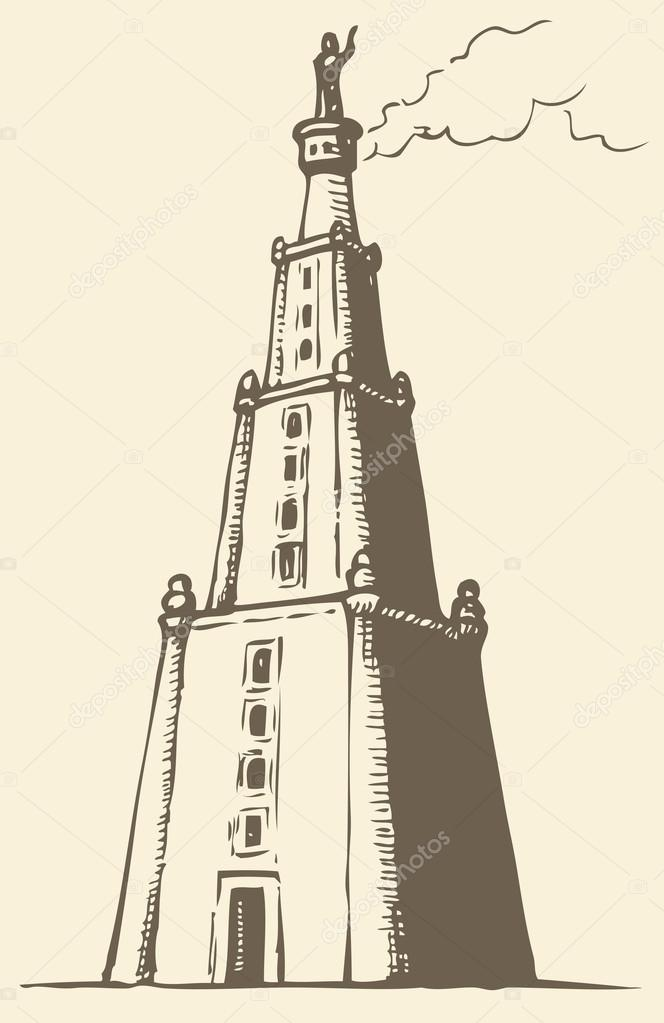 Illustration Of A Series Vector Drawings For The Seven Wonders Ancient World Lighthouse Alexandria Also Known As Pharos