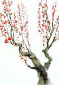 Fotografie Aquarell Hintergrund. Rote Blumen auf Äste