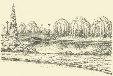 Vector landscape. Park trees at the river bridge and lanterns