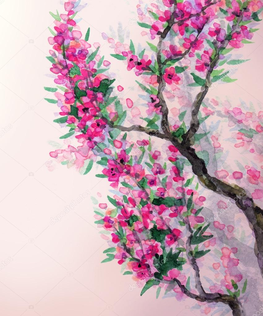 Watercolor spring background. Magenta flowers on tree branches