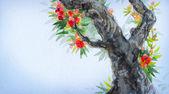 Fotografie Aquarell-Hintergrund. Frühling blühen eines alten Baumes