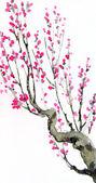 Fotografie Aquarell Hintergrund. purpurrote Blumen auf Äste