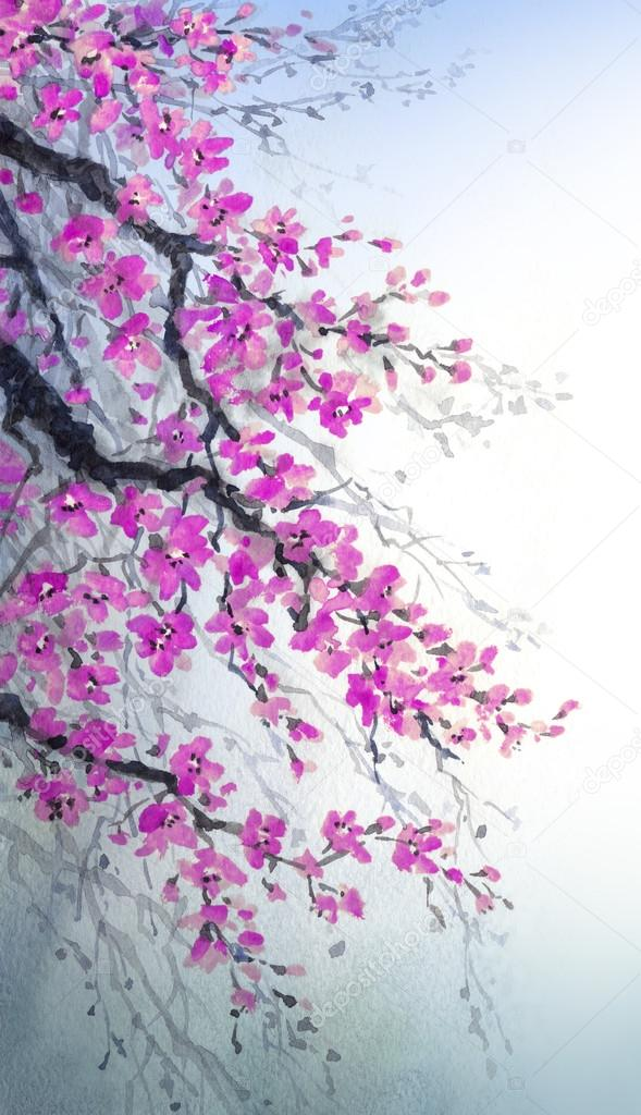 Watercolor painting. Branches of blossoms tree