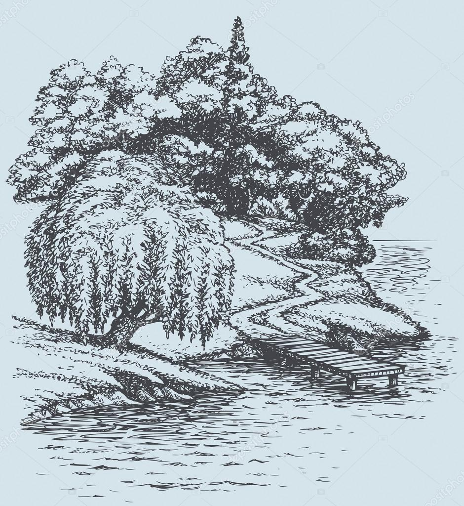 Vector landscape. Willow on the river above footpath to dock