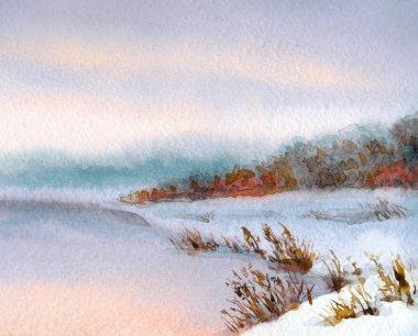 Watercolor winter landscape. Evening sky over river