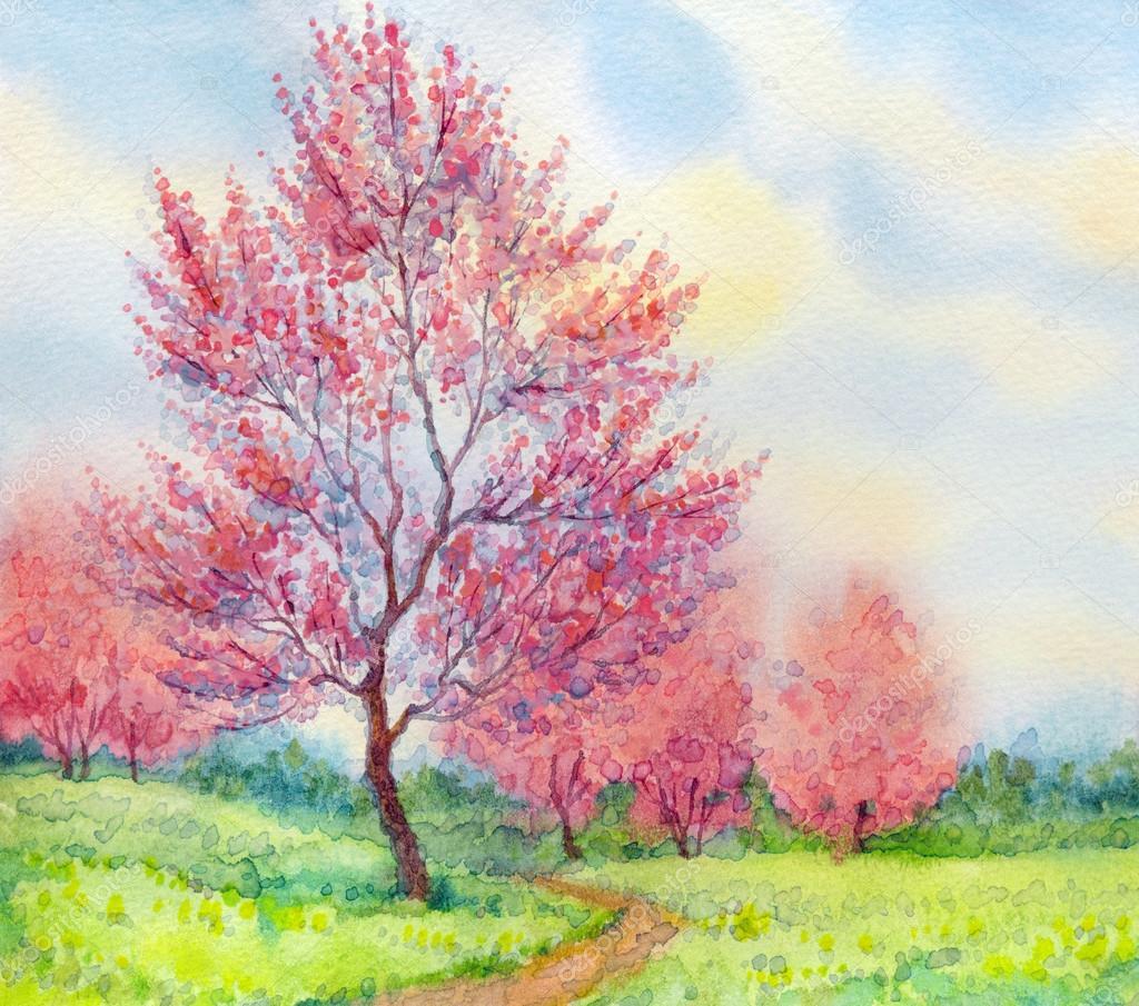 Фотообои Watercolor spring landscape. Flowering tree in a field
