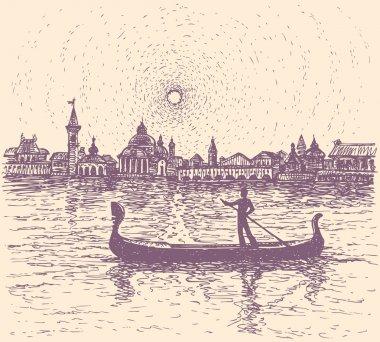 Vector sketch. Gondolier floats on a gondola in Venice