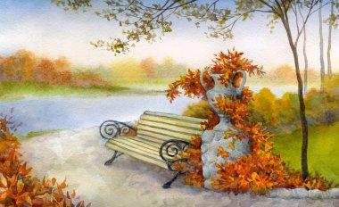 Watercolor landscape. Decorative bench in autumn park