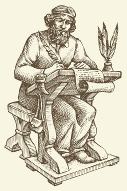 Vector line drawing of an ancient chronicler