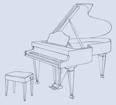 Vector drawing of an open grand piano