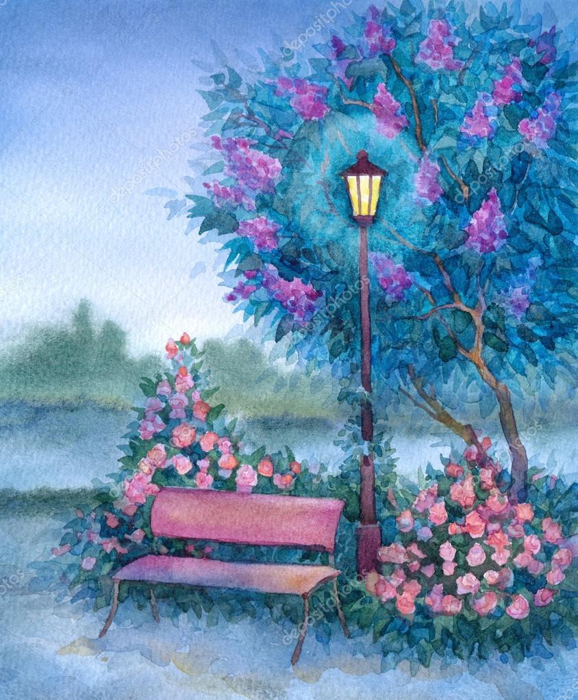 Watercolor landscape. Glowing lantern near bench in spring park