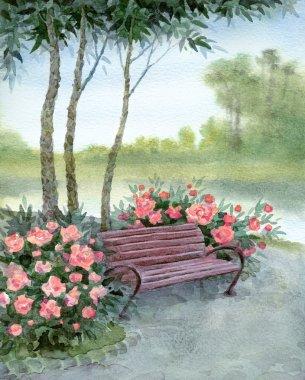 Watercolor landscape. Park bench by the bushes pions