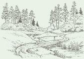 Vektor krajina. dřevěný most přes lesní potok