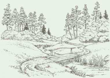 Vector landscape. Wooden bridge over the forest creek