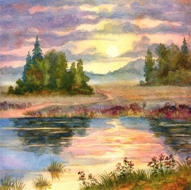 Watercolor landscape. Sunset over lake