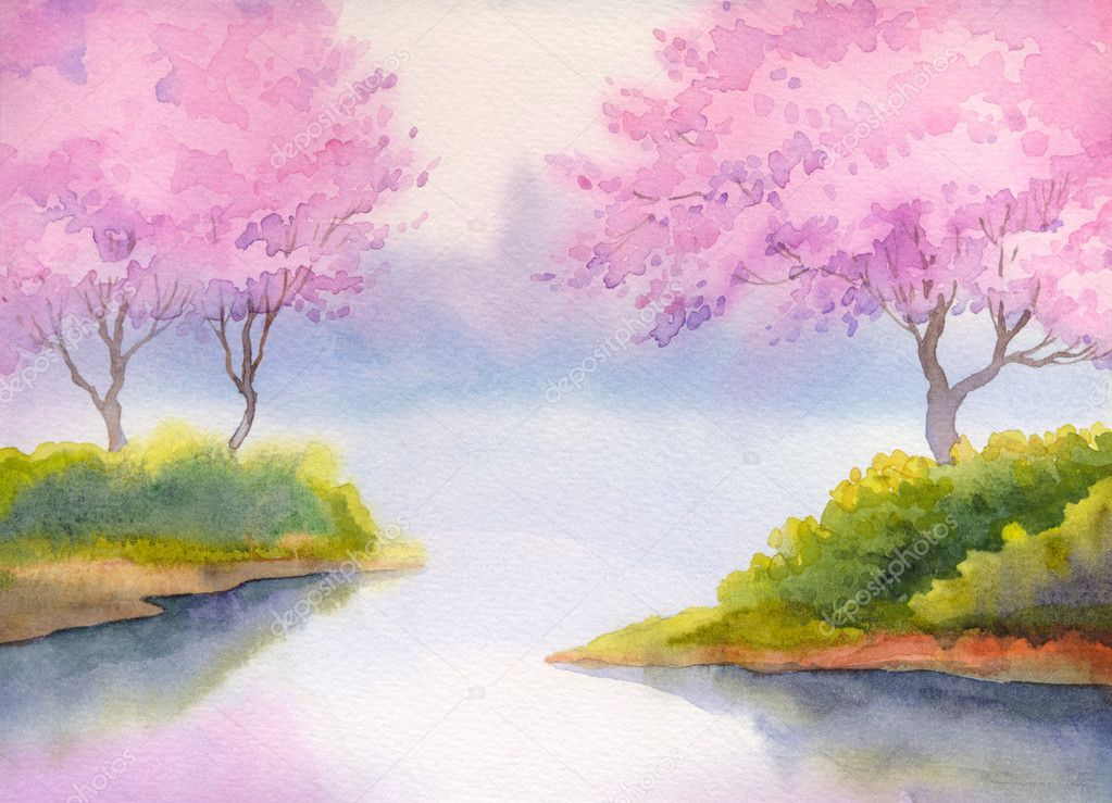 Spring landscape watercolor. Flowering trees over river