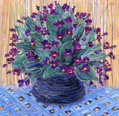 Still life oil. Delicate bouquet of violets in dark vase