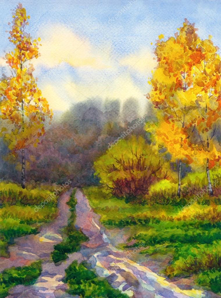 Watercolor landscape. Autumn rain in forest