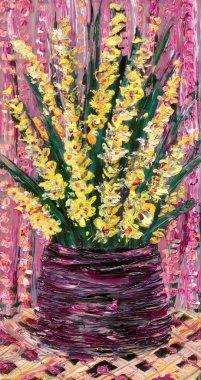 Still life oil. Bouquet of yellow flowers in dark vase