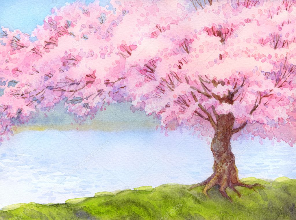 Watercolor landscape. Flowering tree by the lake