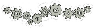 Vector cartoon gear wheels isolated on white background
