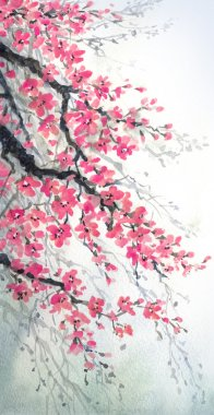 Watercolor painting. Branches with fragrant flowers