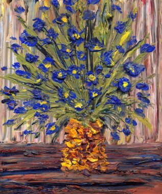 Still life oil. Bouquet of blue flowers in a yellow vase