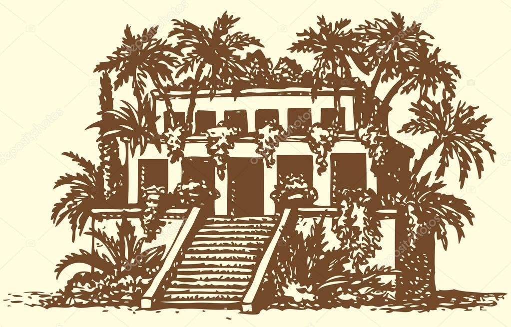 Висячие сады семирамиды картинка черно белый фон