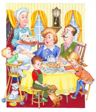 Watercolor illustration. Happy family for a festive tea