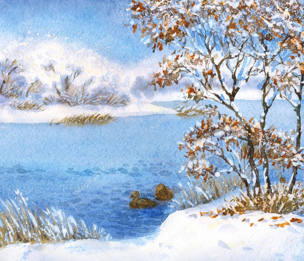 Watercolor landscape. Winter snow on a cloudy day on the lake