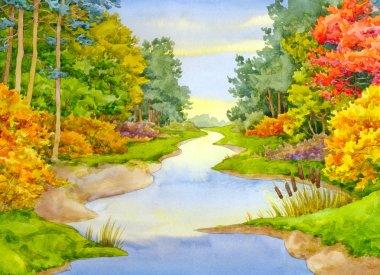 Watercolor landscape. Autumn Brook