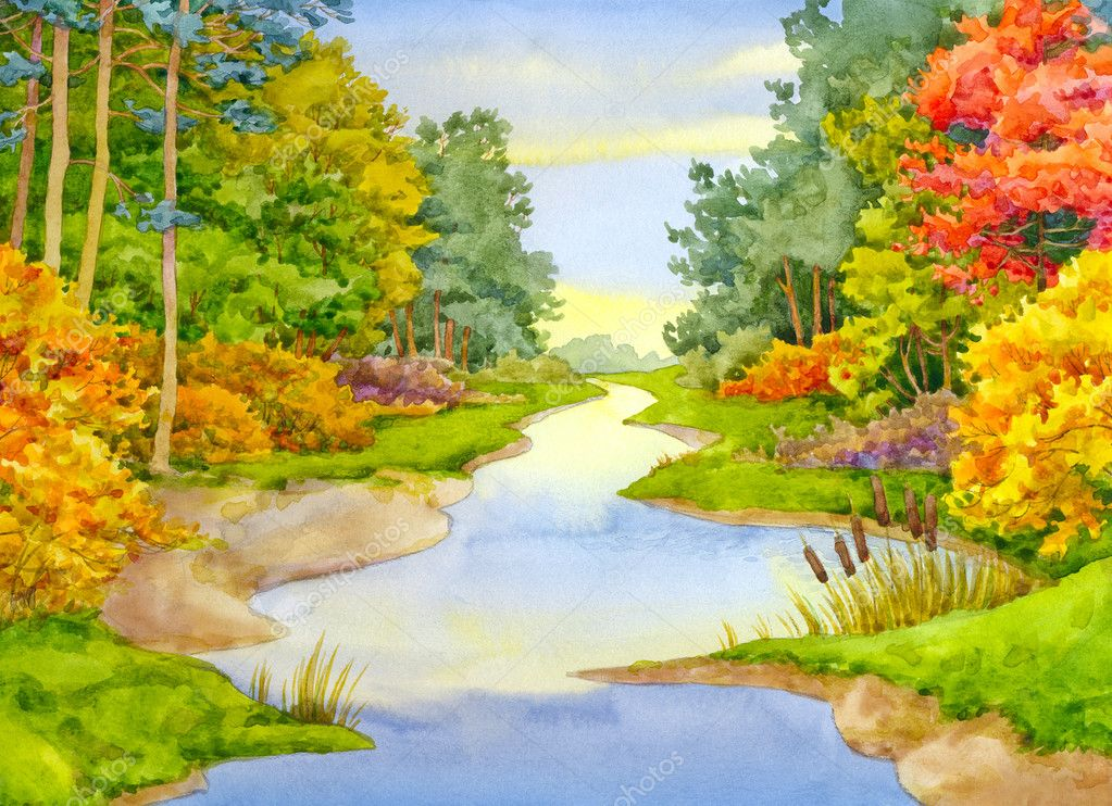 Watercolor landscape. Autumn Brook
