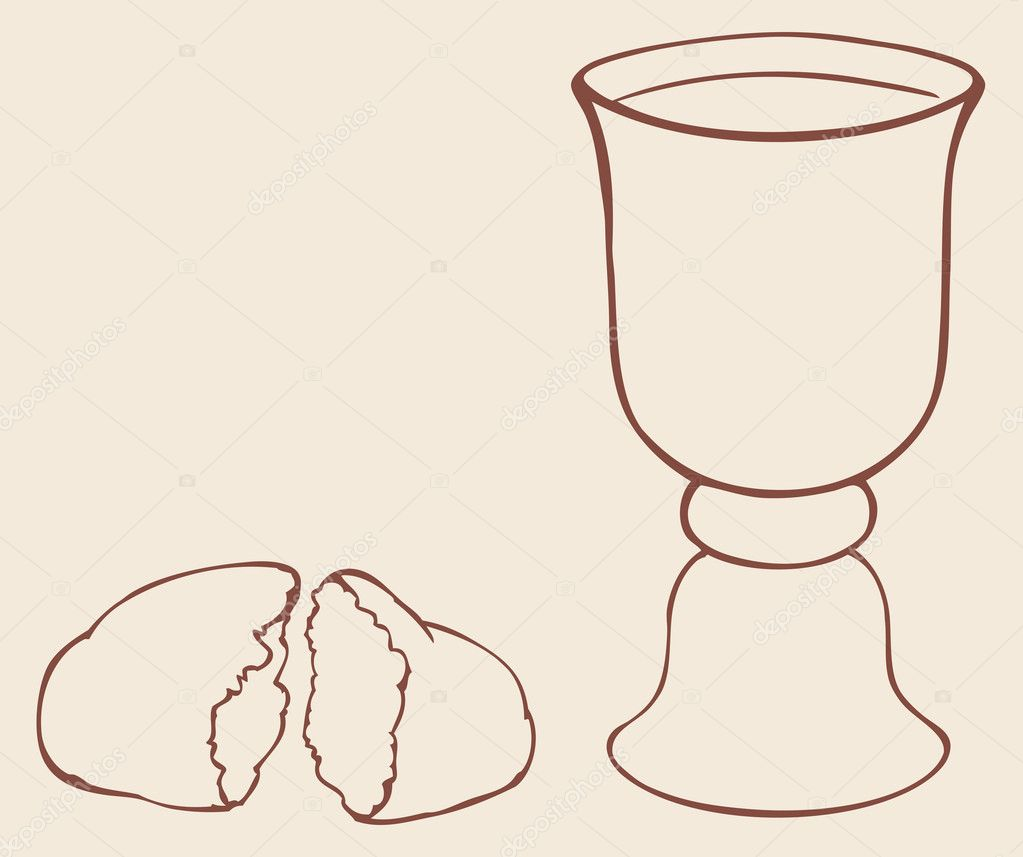 Vector Symbols Of Communion Broken Bread And Wine In Bowl Stock