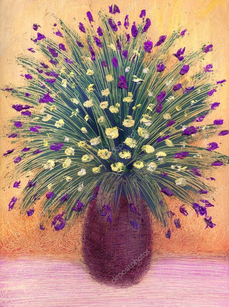 peinture l 39 huile luxuriant bouquet de petites fleurs dans un vase noir photographie marinka. Black Bedroom Furniture Sets. Home Design Ideas