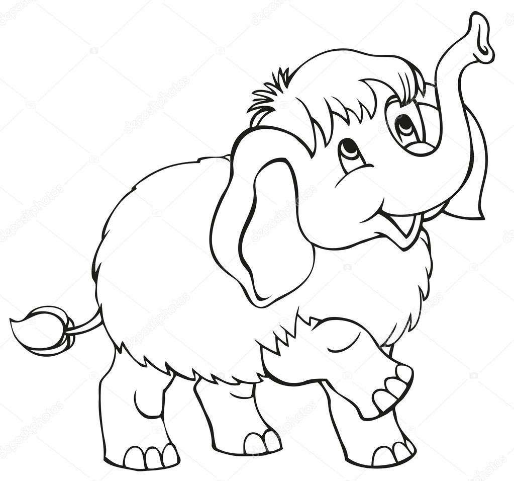 Animado Mamut Para Colorear Dibujos Animados Del Vector Mamut