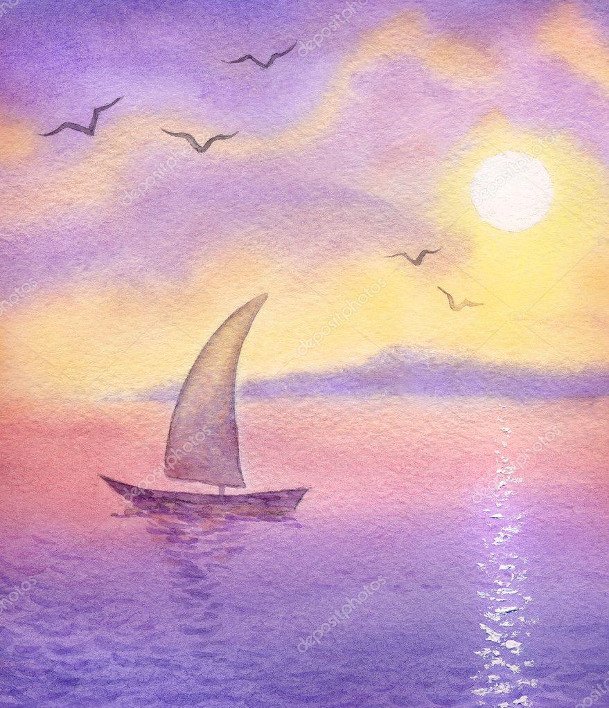 Watercolor landscape.Sailboat on the sea meets the sun