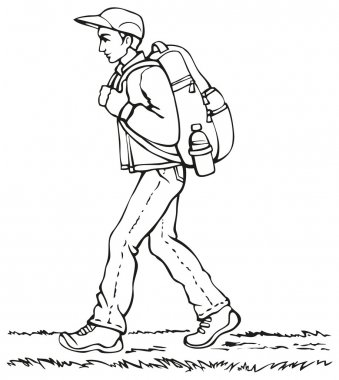 Vector drawing. Traveler with a backpack going up the path