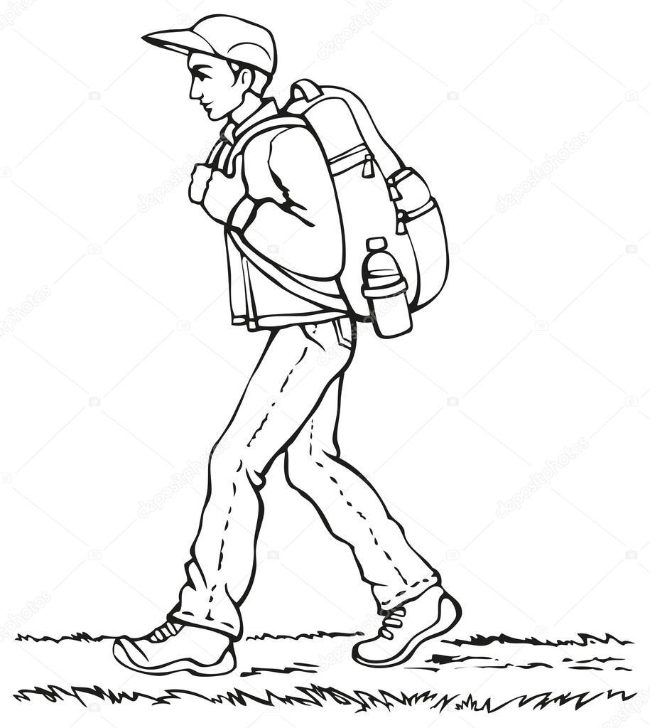 Dessin vectoriel voyageur avec un sac dos en remontant - Voyageur dessin ...