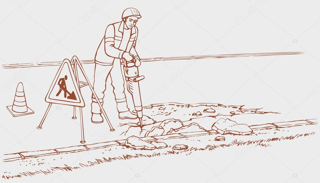 Vector Monochrome Outline Drawing Background Roadworks Illustration Cartoon Construction Worker In Overalls And Helmet With Jack Hammer Removes Asphalt