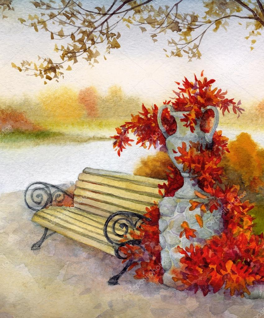 Watercolor landscape. Decorative bench in autumn park