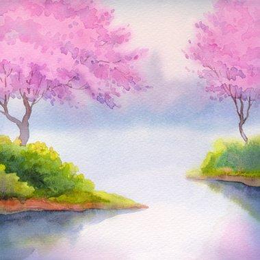 Spring landscape watercolor. Flowering trees over river