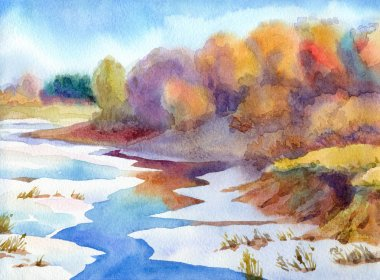 Watercolor landscape. Thaw the river in valley near forest
